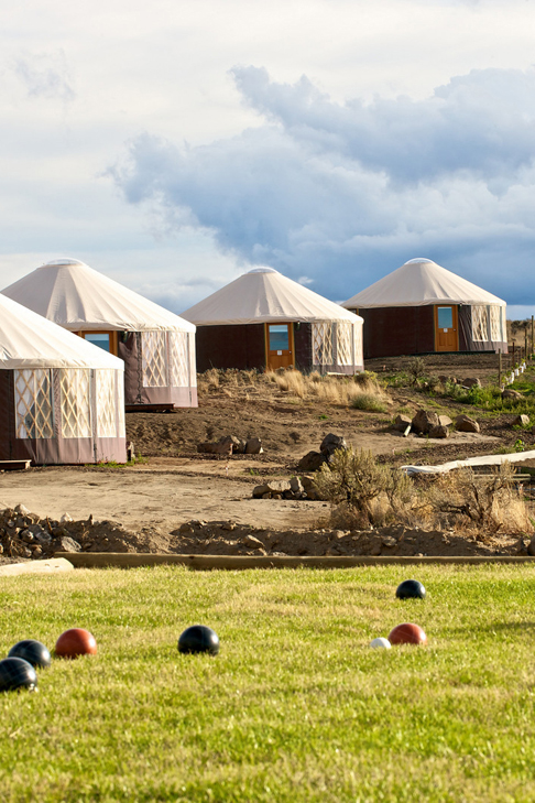 Chiwana Village Yurts, bocce balls in the forground